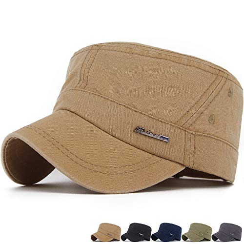 REDSHARKS Mens Fitted Cadet Cap Army Military Cap Radar Caps Patrol Caps Khaki ()