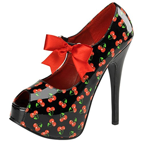 Pin Up Couture - Retro Foodwear Peeptoe Plateau Pumps Teeze-25-3