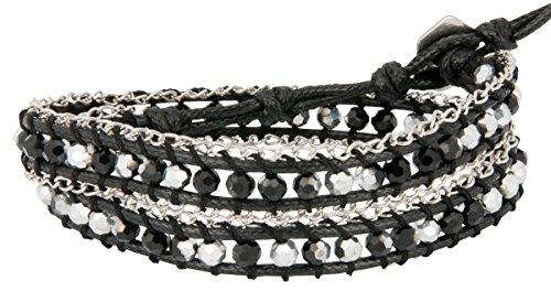 black-silver-chain-siding-double-wrap-bead-bracelet-choker-boot-or-hat-strap-spunkysoul-collection