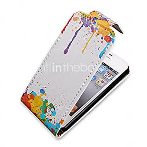 Oil Painting Up-Down Turn Over PU Leather Full Bady Case for iPhone 4/4S