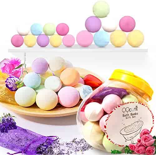 Bath Bombs Gift Set, 18 Family Spa Vegan Lush Fizzies with Natural Essential Oils,3 Flower Pental Bags, Moisturize Dry Skin,Add to Bubble Bath,Basket,Bath Beads