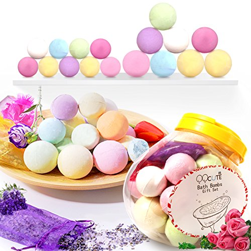 QQcute Bath Bombs Gift Set, 18 Family Spa Vegan Lush Fizzies with Natural Essential Oils,3 Flower Pental Bags, Moisturize Dry Skin,Add to Bubble Bath,Basket,Bath Beads