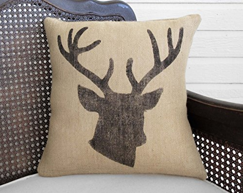 Deer Stag Head Burlap Pillow - 16x16 - Insert Included