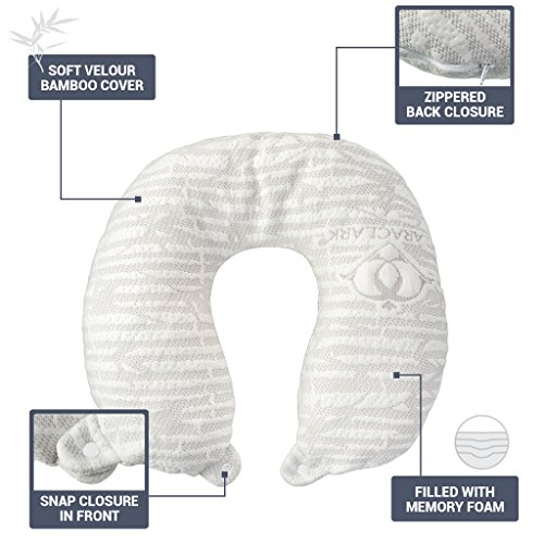 (Clara Clark Hypoallergenic Memory Foam Travel Pillow, Large, White )