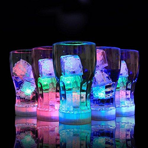 24 PCS IPX7 Waterproof Led Light Flashing Multi-Color Liquid Sensor Ice Cube Lights for Bar Club Drinking Party Wine Wedding Decoration