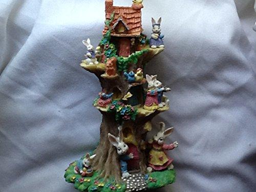 (Easter Village Rabbit Family Tree House)