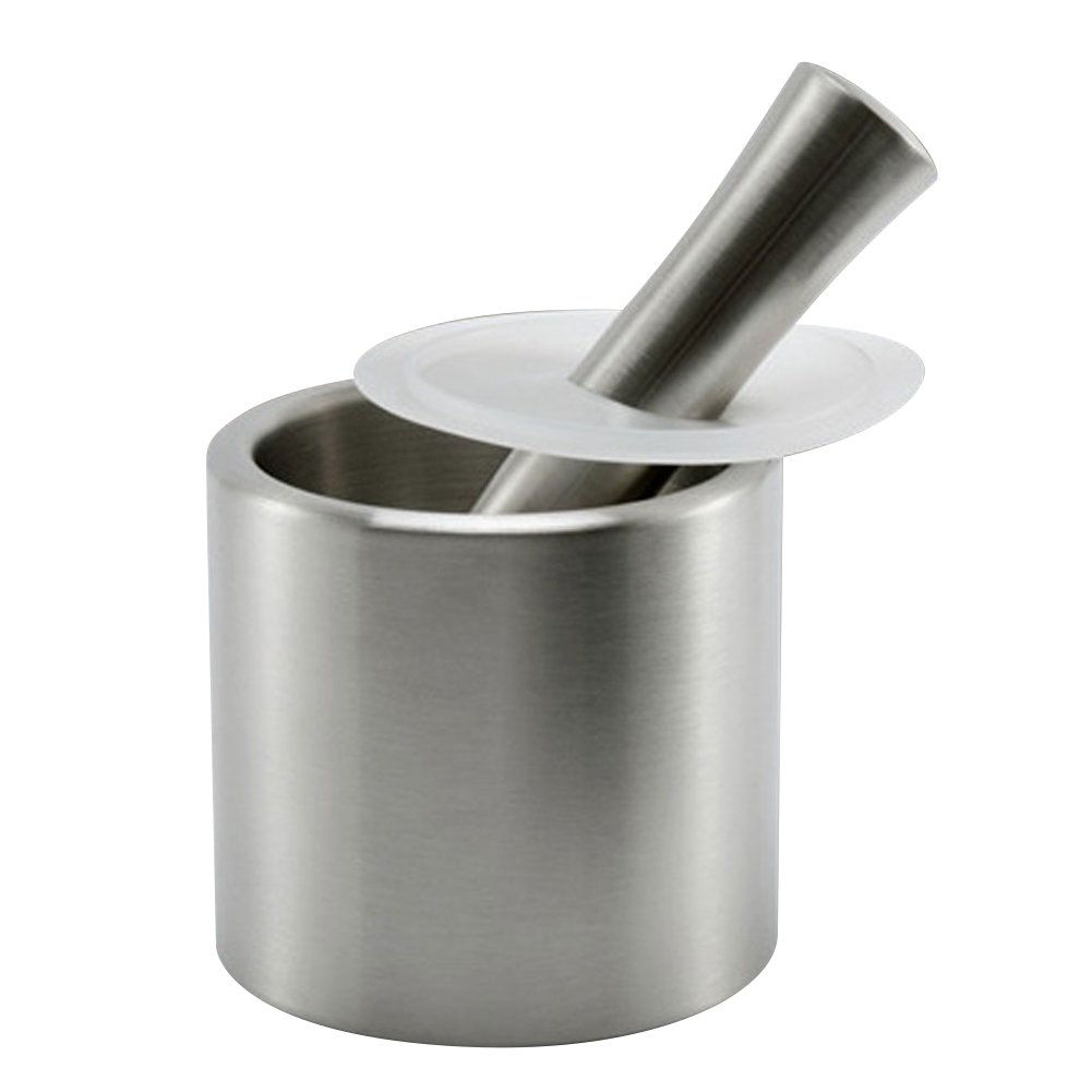 iecool Cylindrical Brushed Stainless Steel Metal Mortar and Pestle with Lid Silver