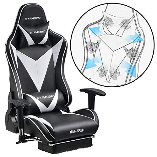 GTRACING Gaming Chair with Footrest Racing Chair Backrest and Seat Height Adjustment with Pillows Recliner Swivel Rocker Tilt E-Sports Chair GT004 Black&White