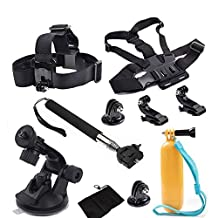 Outdoor Sports 8-In-1 Accessory Kit for Gopro Accessories Set Chest Head Belt Strap Monopod Floating Bobber Mount Car suction cup for Gopro SJCAM SJ4000 EKEN H9 Action Camera
