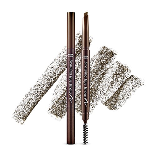 ETUDE HOUSE Drawing Eye Brow 0.25g #1 Dark Brown - Long Lasting Eyebrow Pencil. Soft Textured Natural Daily Look Eyebrow Makeup