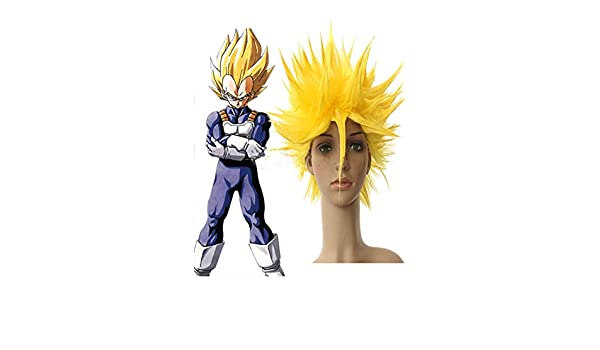 Hmy diseño de la peluca de Dragon Ball Vegeta super saiyan, de nailon, amarillo: Amazon.es: Belleza