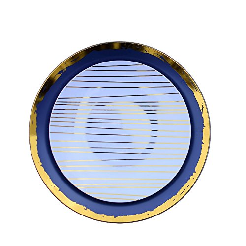 (Trendables™ 40 - Pack Combo Premium Disposable Plastic Plates, Food Grade Elegant Plastic Dinner Plates - Glam Design Includes: 20 x 10.25