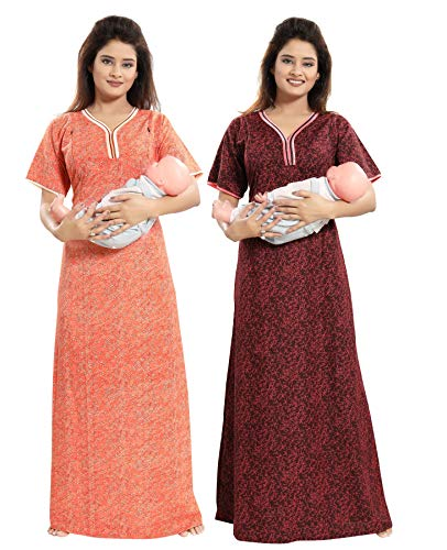 d801b82c6e TUCUTE Women Beautiful Print Poly-Cotton Invisible Zip Pattern  Feeding Maternity Nursing Nighty Night Gown Nightwear (Free Size) (Pack of  2 Pcs) Smart Combo ...
