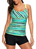 Womens Strappy Racerback Color Block Printed Push Up Tankini Tops Padded Swimsuits Sporty Bathing Suits Green Plus Size Swimwear 3XL 22 24