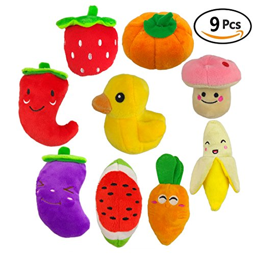 51rLhWMt%2B3L - TuhooMall 12-15cm/ 4.7 -6 Inch Squeaky Fruits and Vegetables Plush Puppy Dog Toys for Small Dogs