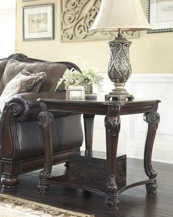 Ashley Furniture Signature Design - Norcastle End Table - Ornate Style - Square - Dark Brown by Signature Design by Ashley