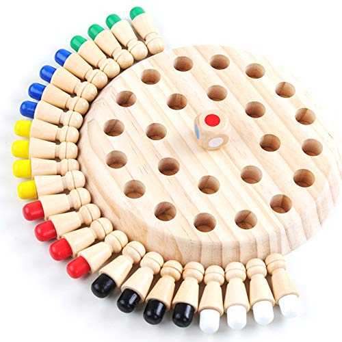 Review Of New Children Wooden Memory Matchstick Chess Game, Educational Intelligent Logic Game and B...