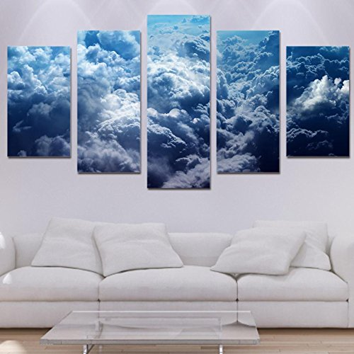 [LARGE] Premium Quality Canvas Printed Wall Art Poster 5 Pieces / 5 Pannel Wall Decor Over The Clouds Painting, Home Decor Pictures - With Wooden Frame