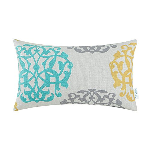 CaliTime Canvas Bolster Pillow Cover Case for Couch Sofa Home, Three-tone Floral Compass Geometric 12 X 20 Inches, Turquoise / Yellow / Gray