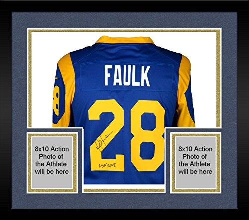 Louis Rams Throwback Blue Jersey - Framed Marshall Faulk St. Louis Rams Autographed Blue Nike Throwback Game Jersey with HOF Inscription - Fanatics Authentic Certified