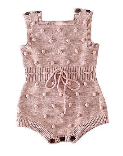 (Eiffel Direct Baby Girls Knit Striped Spot Romper Button Sleeveless Jumpsuit Bodysuit (Pink 2, 66/Fit 6 Months))
