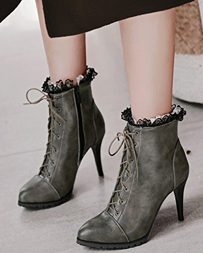 Women's Booties Gray Trendy Stiletto Pointy Heels High Ankle Toe Aisun Up Lace qvCdqw