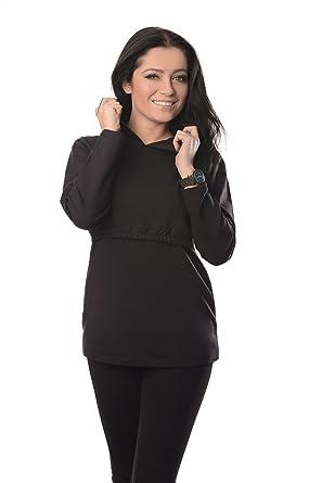 New Discreet Soft Nursing and Breastfeeding Hoodie 9051 Variety of Colours  (4, Black)