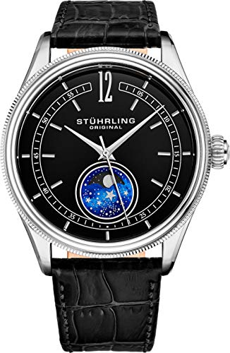 Stuhrling Original MoonPhase Dress Watch - Stainless Steel Case and Black Leather Band - Black Analog Dial - Celestia Mens Watches Collection