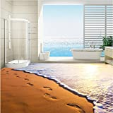LHDLily 3D Wallpaper Mural Wall Sticker Thickening Customized Dusk Beach Footprints Bathroom Stereo Waterproof Anti-Slip Self-Adhesive Decorative Floor Stickers 300cmX200cm