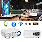 Android WiFi Projector, CAIWEI WXGA 4600 Lumen Video Projectors with Bluetooth Wireless HDMI USB LCD LED Max 200' Display for Home Theater Smart TV Outdoor Movies Game Consoles Cell Phone HD Proyector