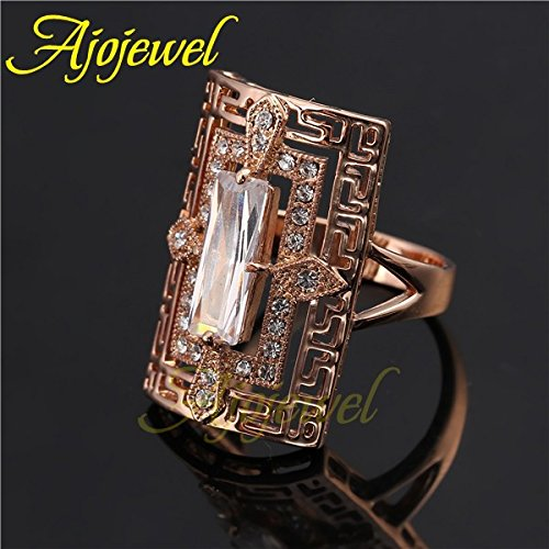 Gemmart 8-10 Unique Attractive Unisex Clear//Red Rectangle cubic zirconia engagement rings fashion ring