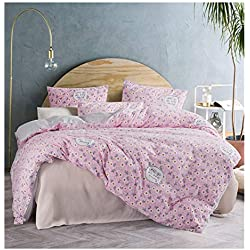 ughome Floral Pink Queen Duvet Cover Set with Romantic Vintage Flowers Quilt Cover Set Hotel Bedding Sets Comforter Cover Full Comferter Cover Set for Toddlers Kids Teens Girls Women(Queen,Pink)