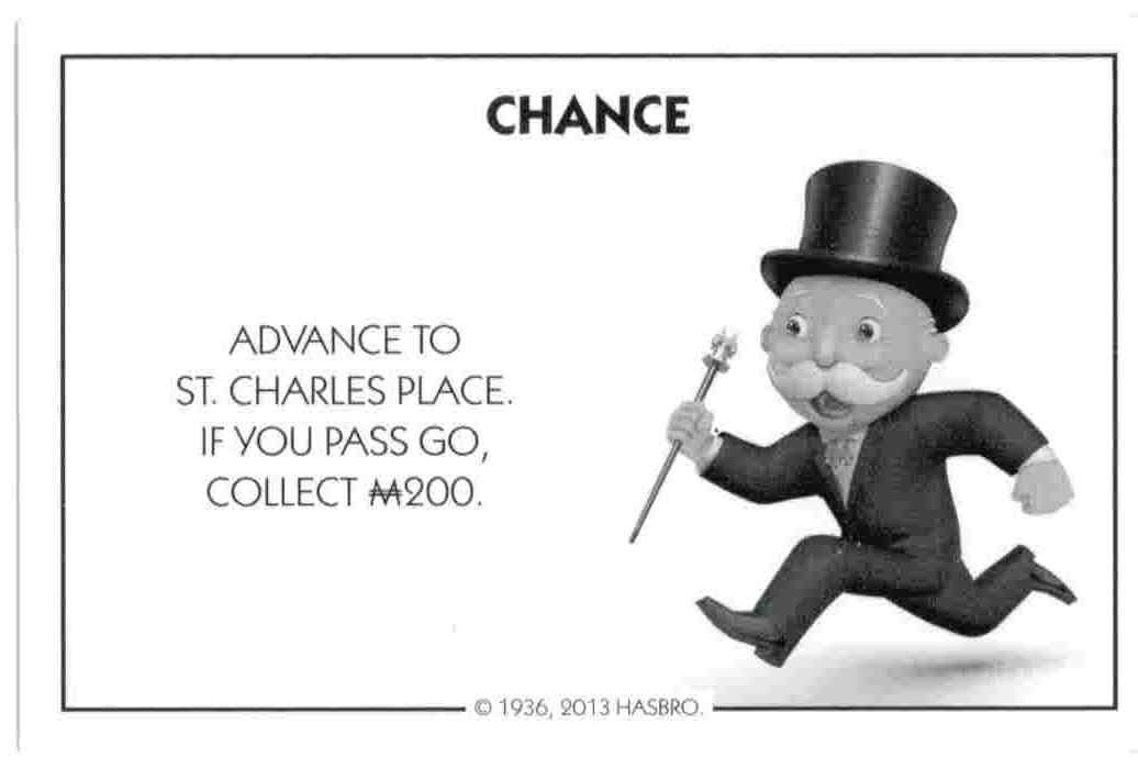 get out of jail free card template - chance cards monopoly images