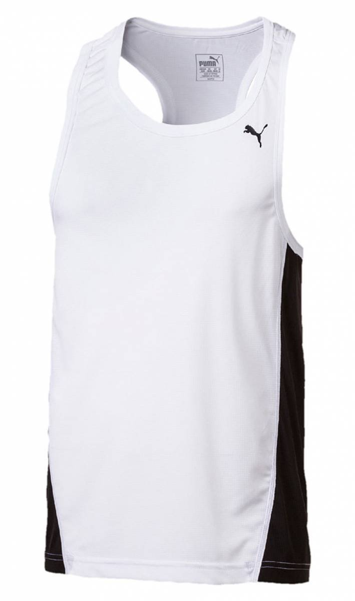 Puma Cross The Line Singlet, Top Uomo, Bianco/Nero, XS 515098 02