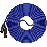 LyxPro Balanced XLR Cable 20 ft Premium Series Professional Microphone Cable, Powered Speakers and Other Pro Devices Cable, Blue