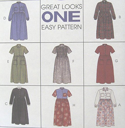 - Misses Dress Sewing Pattern Front Button Gathered Skirt McCall 8406 8 Looks (18-20-22)