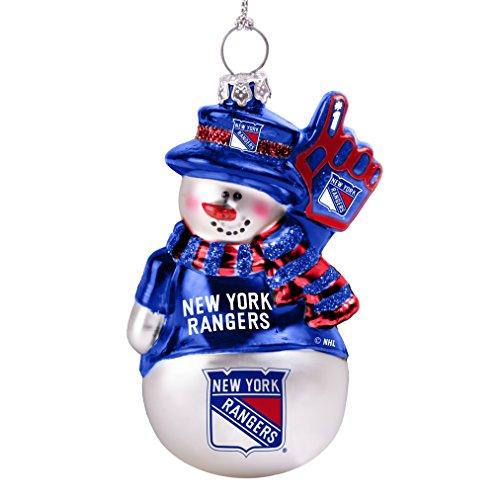 (NHL New York Rangers Glitter Snowman Ornament)