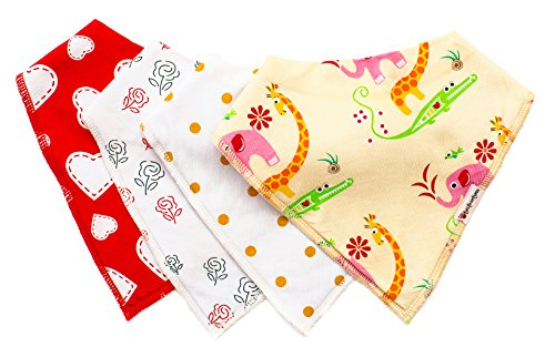 Cute Baby Bandana Drool Bibs and Burp Cloths With Snaps 4 Pack - Perfect new baby gift set - Best Teething and Dribble Bib With Adjustable Snaps