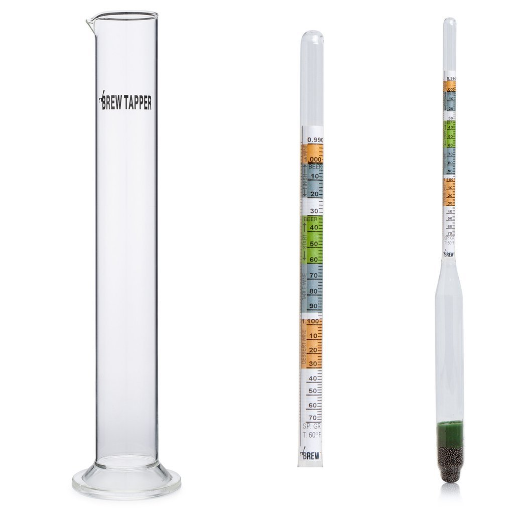 Brew Tapper Triple Scale Hydrometer with Glass Test Tube Combo for Beer, Wine, Mead & Kombucha - Specific Gravity ABV Tester