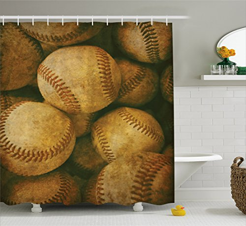 Ambesonne Vintage Decor Collection, Vintage Baseball Backgorund American Sports Theme Nostalgic Leather Retro Balls Artwork, Polyester Fabric Bathroom Shower Curtain, 84 Inches Extra Long, Brown