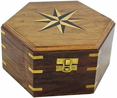 maritime Caja de madera/baúl/Cofre del Tesoro – Marquetería/latón bisagras de 18 cm de hexagonal: Amazon.es: Juguetes y juegos