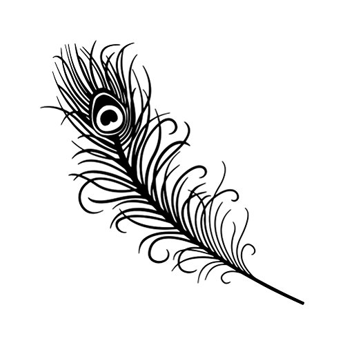 Peacock Feather Outline Silhouette Vinyl Sticker Car Decal (6