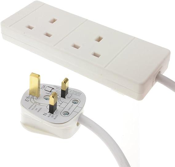 White pro elec pl13973pl 2 Gang 1 m Extension Lead Cable