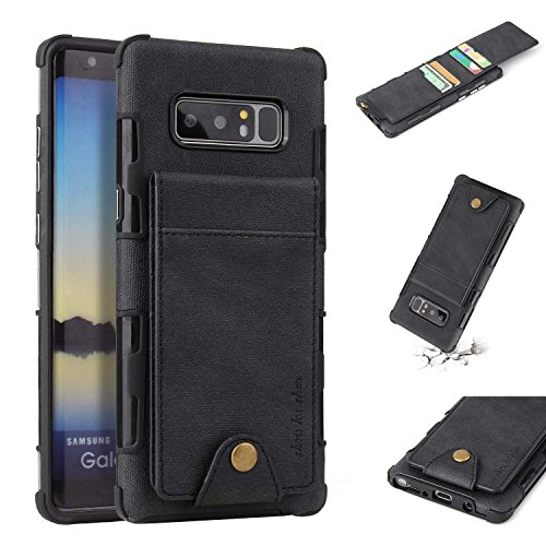 Note 8 Card Holder Case, Note 8 Wallet Case Slim, Folio Flip Cover [ Magnetic Snap Closure ] [4 Card slots] for Samsung Galaxy Note 8 (Black)