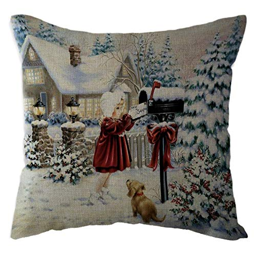 callm Pillow Case Throw Pillows Covers Fashion Merry Christmas Snowman Linen Pillowcase Waist Throw Cushion Cover Case Hug Square Pillowcase Home Decor for $<!--$0.49-->