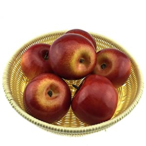 Gresorth 6pcs Lifelike Artificial Red Apple Faux Fake Apples Fruit Home House Kitchen Cabinet Decoration 3