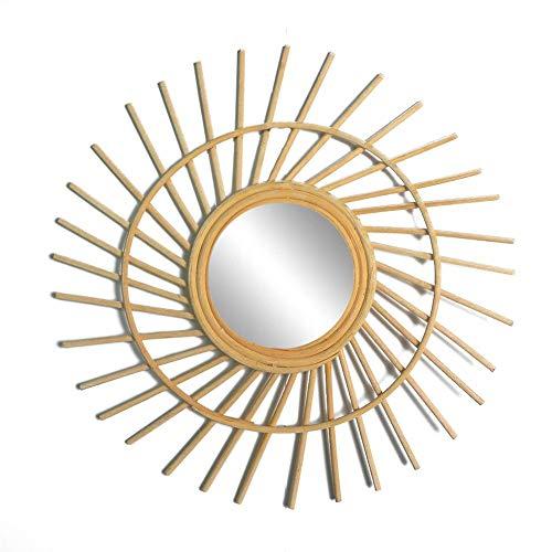 Espejo de Mimbre de bambu frances Espejo de tocador de Sol Bohemio Espejo de Pared Medieval Espejo de bambu y Vid Espejo de Sol Medieval decoracion del hogar Conjunto de Espejos