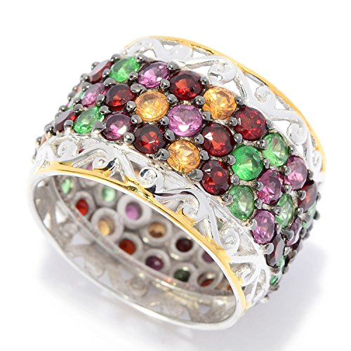 Michael Valitutti Palladium Silver Round Multi Color Garnet & Tsavorite Eternity Band Ring