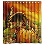 Crystal Emotion Thanksgiving Day,Harvest Festival,pumpkin fabric Polyester Bathroom Decorating Set Shower Curtain with Hooks