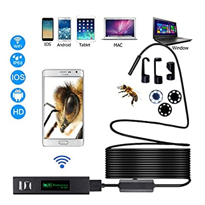 Wireless Endoscope Camera Flexible Inspection Camera,2.0 Megapixels,8 Led light,IP68 Waterproof, digital Wifi borescope, suitable for Android and IOS smart phone ,Tablet ,MAC ,Windows(16.4ft)